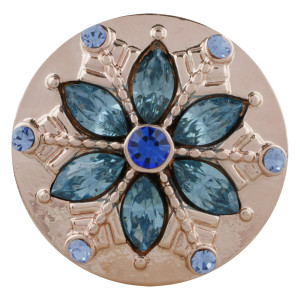 20MM round Rose-Gold Plated with light blue rhinestone KC5647 snaps jewelry