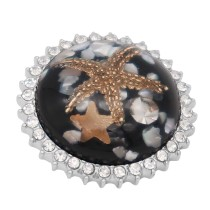 25MM Thick Glossy Surface Round black Starfish Amber snap Silver Plated with Rhinestone KC7968 snaps jewelry