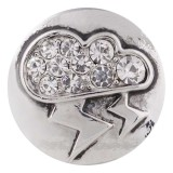 20MM lightning snap silver plated with white Rhinestone KC5489 snaps jewelry