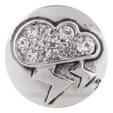 20MM relámpago chapado en plata con diamantes de imitación blancos KC5489 broches de joyería