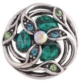 20MM design snap Antique Silver Plated with green Rhinestone KC8692