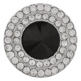 20MM Broche redondo plateado con diamantes de imitación negros KC9885 broches de joyería