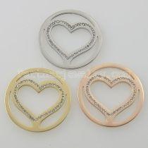 Los encantos de monedas de acero inoxidable 33MM se ajustan al tamaño de la joyería corazón grande con diamantes de imitación