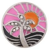 20MM Holiday Seaside Snap versilbert mit Strass und rosa Emaille KC7407 austauschbaren Snaps Schmuck