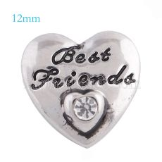 12mm friend snaps Silver Plated with white rhinestone KS5110-S snap jewelry