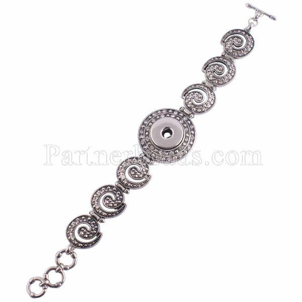 1 Buttons Snaps versilbertes Armband mit Strasssteinen passen zu Snaps Chunks KC0659
