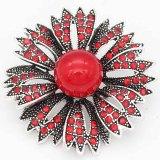20MM Blumensplitter Überzogen mit roten Strasssteinen und Perlen KC6692 schnappt Schmuck