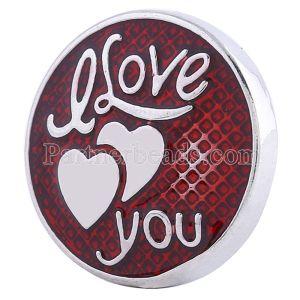 20MM Saint-Valentin Amour Snap Argenté avec émail rouge KC6104 s'encliquette bijoux