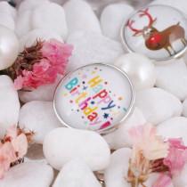 20MM snap glass Joyeux anniversaire KC2130 Snaps interchangeables bijoux