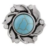 20MM Broche de flores chapado en plata antigua con turquesa cian y diamantes de imitación DS5001 joyería de broches intercambiables