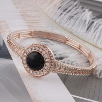 20MM round Rose-Gold Plated with rhinestone and black bead KC6485 snaps jewelry