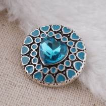 20MM Heart Love snap button Antique Silver Plated with Cyan glass snap jewelry