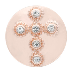 20MM cross Rose-Gold Plated with white rhinestone KC7715 snaps jewelry