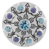 20MM bouton pression en coeur argenté avec strass bleu KC5551 s'encliquette bijoux