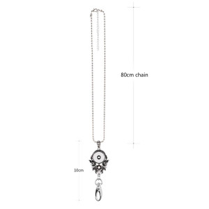 High Quality hook necklace Badge Reel ID holder with 80CM chain fit 18&20mm chunks snap jewelry