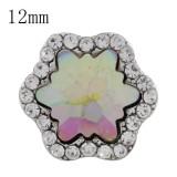 Astilla de diseño 12MM plateada con joyas de diamantes de imitación KS6264-S de colores intercambiables