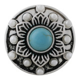 20MM round sliver Plated with cyan Turquoise and  beads KC7641 snaps jewelry