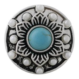 Ruban rond 20MM Plaqué avec Turquoise cyan et perles KC7641 snaps bijoux