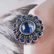 20MM Цветочная оснастка, посеребренная с голубым горным хрусталем