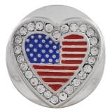 20MM bandera nacional snap plateado con diamantes de imitación y esmalte KC7559 broches de joyería