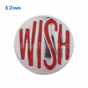 12mm Wish snaps Plateado con esmalte rojo KS5037-S broche de joyería