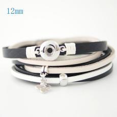 Las pulseras de cuero PU 15.35inch se ajustan a los trozos de broches 12MM