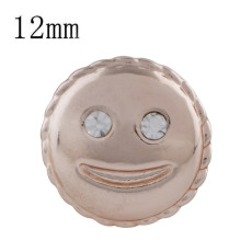 12MM smile Rose Gold Plated with white rhinestone KS5240-S snaps jewelry
