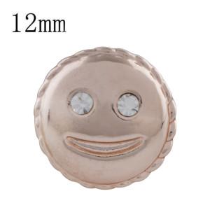 12MM smile Chapado en oro rosa con diamantes de imitación blancos KS5240-S broches de joyería