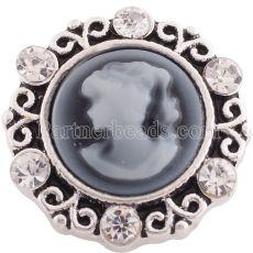 20MM bouton pression gris argenté Antique plaqué avec strass KC6366 s'encliquette bijoux