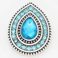 20MM design snap Silver Plated with dark Blue rhinestone KC6717 snaps jewelry
