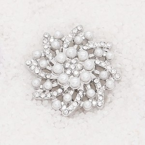 20MM  pearl snap Silver Plated with white rhinestone KC7919 snaps jewelry