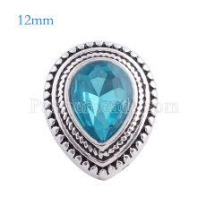 12MM Drop snap Chapado en plata antigua con diamantes de imitación azul claro KS6133-S broches de joyería