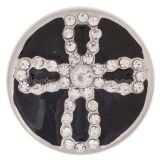 20MM cruz redonda chapado en plata con diamantes de imitación y esmalte negro KC8873 joyería de broches intercambiables