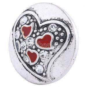 20MM valentine Loveheart snap Silver Plated with white rhinestone KC6050 snaps jewelry