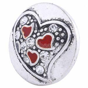 20MM Saint-Valentin Loveheart Snap Argenté avec strass blanc KC6050 s'encliquette bijoux