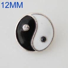 12mm Tai Chi snaps Antique Silver Plated with black&white enamel KB6563-S snap jewelry