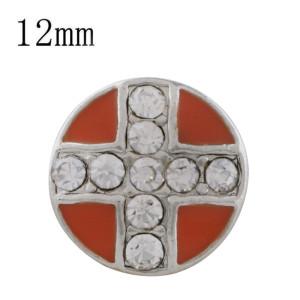 12MM cross sliver Plated with rhinestone and Orange enamel KS6350-S