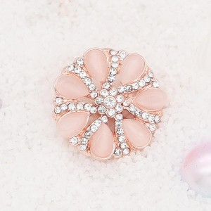 20MM  flower snap rose-gold plated with pink rhinestone KC7893 snaps jewelry