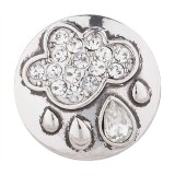 20MM Rain snap silver plated with white Rhinestone KC5487 snaps jewelry