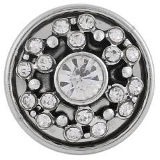 boutons-pression en métal avec strass blancs