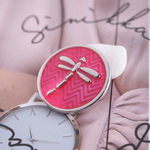 20MM Dragonfly snap Plateado con esmalte rojo rosa KB7716 broches de joyería