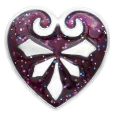 20MM loveheart snap Silver Plated with purple enamel KC7783 snaps jewelry