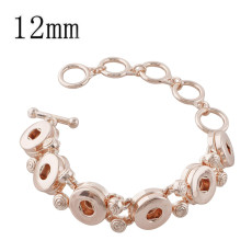 6 buttons snaps metal Rose Gold bracelets fit snaps chunks KS1194-S