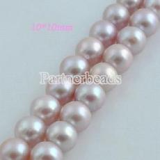 10*10mm freshwater round pearl beads purple