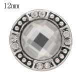 12MM design snap antique sliver Plated with white Rhinestone KS6362-S snap jewelry