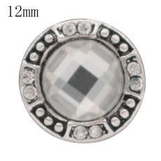 Diseño antiguo de 12MM astilla antigua plateada con diamantes de imitación blancos KS6362-S joyería rápida