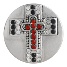 20MM cross snap button Antique Silver Plated with red Rhinestone KC9751 snap jewelry