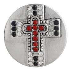Bouton pression croix 20MM Argent antique plaqué avec strass rouge KC9751 bouton pression