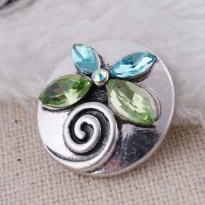 20MM design  snap Antique Silver Plated with green Rhinestone KC8734