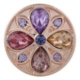 20MM redondo Chapado en oro rosa con diamantes de imitación de colores KC5652 Multicolor